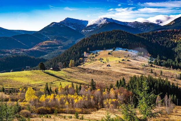 Bellissime foreste colorate che coprono le montagne dei carpazi e un piccolo villaggio
