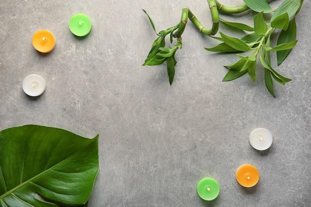 Bella composizione con piante tropicali e candele accese su sfondo grigio