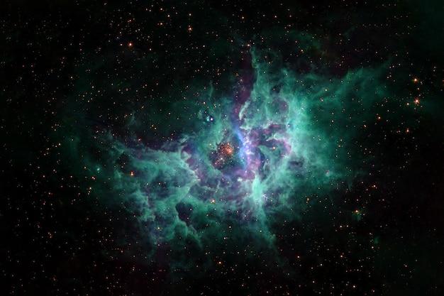 Bella nebulosa cosmica nei toni del turchese gli elementi di questa immagine sono stati forniti dalla nasa