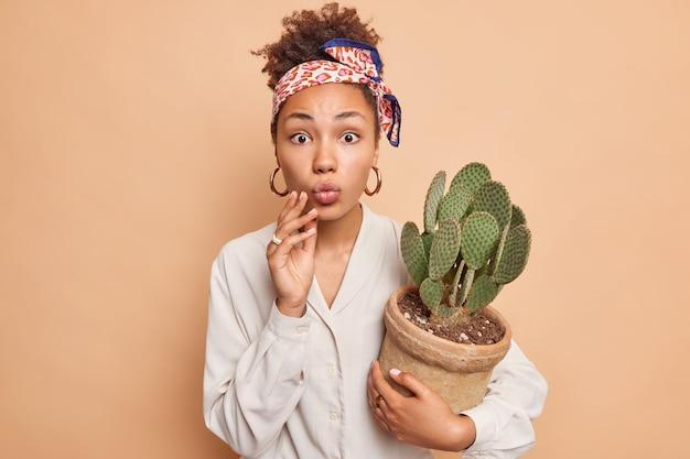 La bella donna dai capelli ricci tiene le labbra piegate ha un'espressione sorpresa indossa un fazzoletto di camicia bianca legato sopra la testa orecchini d'argento tiene cactus in vaso isolato sul muro beige