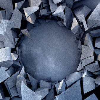 Sfondo di distruzione bella esplosione con struttura in pietra. illustrazione 3d, rendering 3d.
