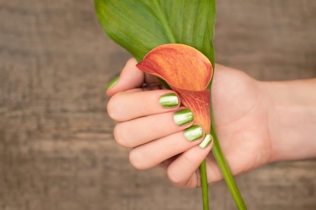 Bella mano femminile con design verde delle unghie che tiene la calla. mano femminile con manicure glitter su fondo in legno.