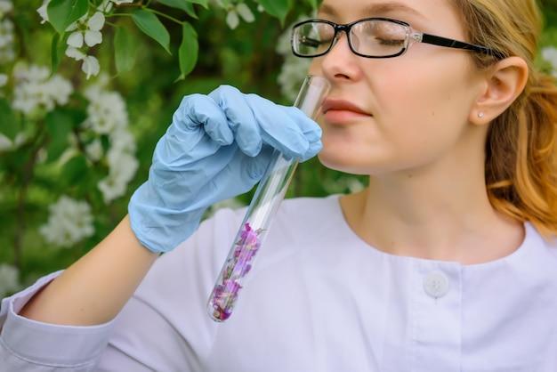 La bella scienziata in guanti medici inala l'aroma dalla provetta con i petali del fiore, l'albero di fioritura in giardino botanico, primo piano. creazione di un profumo, cosmetici naturali.