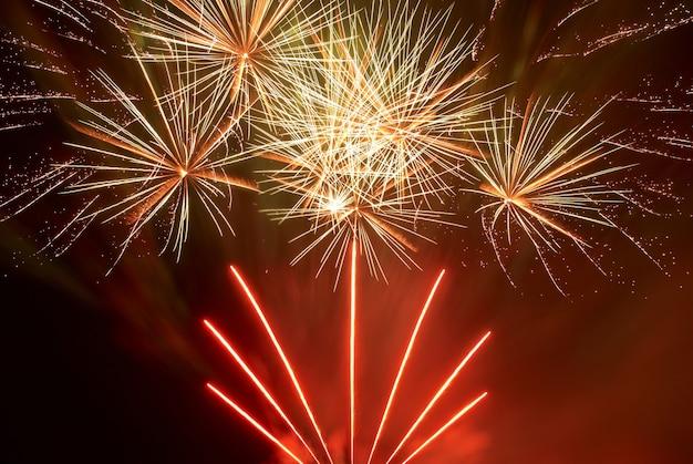 Bellissimi fuochi d'artificio sullo sfondo del cielo nero