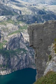 Bellissimo fiordo in norvegia. vista dall'alto.