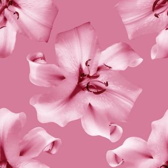 Bellissimi fiori gigli. reticolo senza giunte della fioritura del fiore di giglio. sfondo naturale floreale.