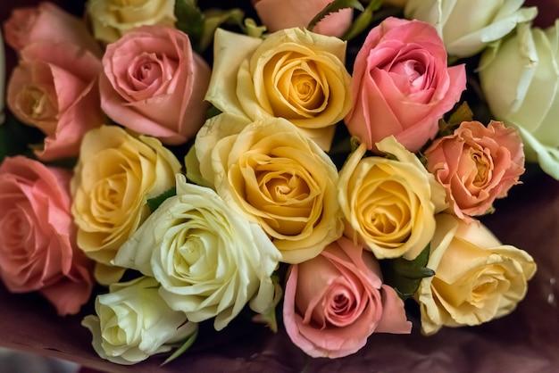 Bellissimi fiori di rosa per il primo piano del mazzo