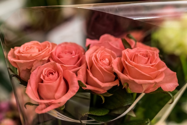 Bei fiori di rosa per il primo piano del mazzo