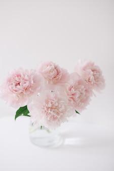Bellissimo bouquet fresco tagliato di peonie rosa in un vaso su sfondo bianco