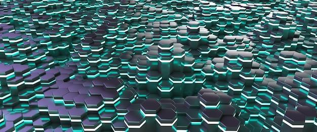 Bellissimo sfondo futuristico. aste esagonali incandescenti