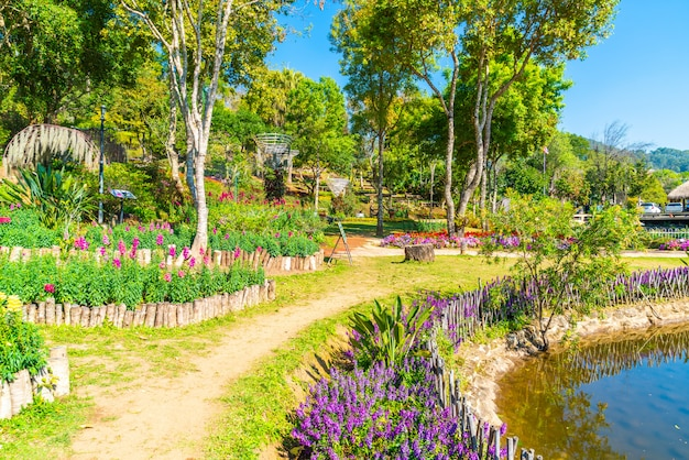 Bello giardino alla stazione agricola reale - doi inthanon in chiang mai, tailandia