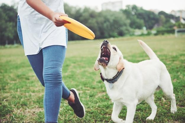 Una bella ragazza che gioca con il suo amato cane nel parco.