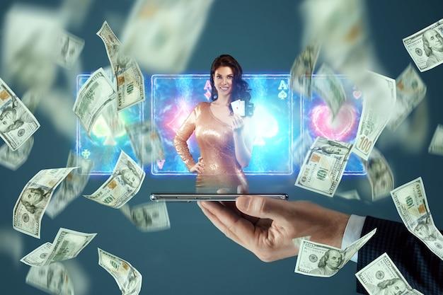Bella ragazza con carte da gioco in mano sullo schermo dello smartphone e dollari che cadono. casinò online, gioco d'azzardo, scommesse, roulette. volantino, poster, modello per la pubblicità.