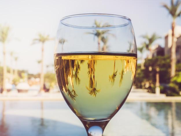 Bel bicchiere di vino sullo sfondo della piscina