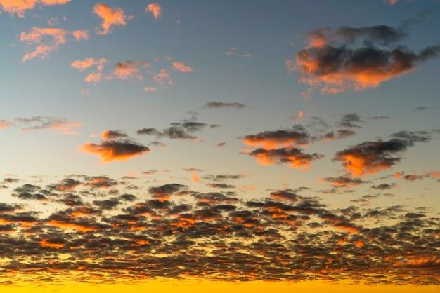 Belle nuvole dorate illuminate dai raggi del sole al tramonto fluttuano nel cielo giallo-blu.