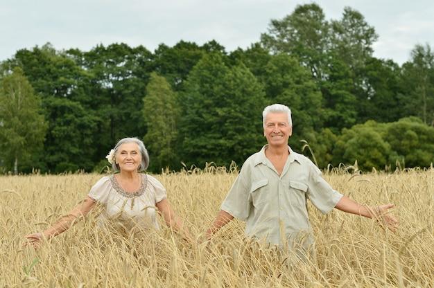 Bella coppia senior felice nel campo estivo