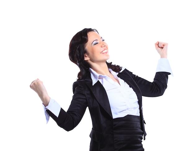 Bella giovane donna di affari felice isolata su fondo bianco