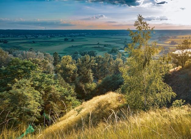 Bellissimo paesaggio di prati verdi e boschi estivi e tramonto incredibile