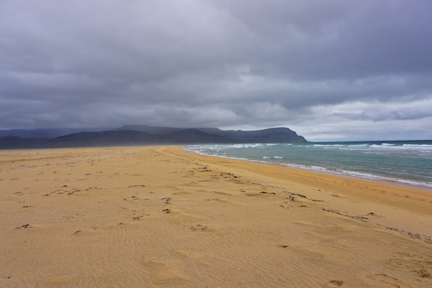 Bellissimo paesaggio in spiaggia raudisandur nei fiordi occidentali dell'islanda.