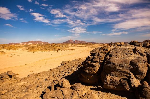 Bellissimo paesaggio di dune di sabbia in egitto. deserto del sahara. sfondo di un'onda di sabbia arancione.