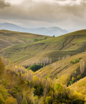 Bellissimo paesaggio con la famosa catena montuosa apuseni in romania sotto un cielo nuvoloso