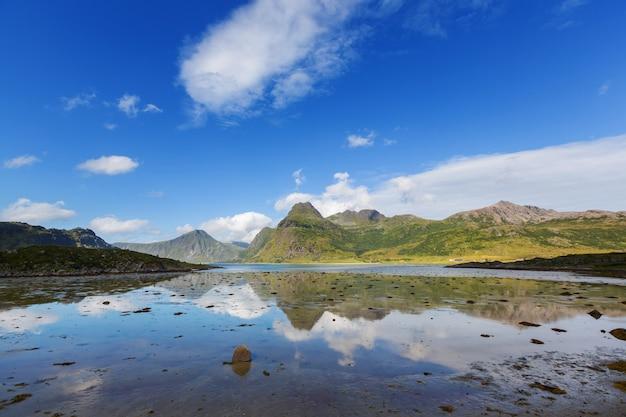 Bei paesaggi nelle isole lofoten, norvegia settentrionale. stagione estiva.