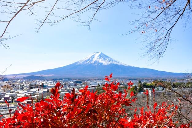 Splendidi paesaggi con vista sul monte fuji con fiori rossi e villaggio al punto di vistavista dall'alto