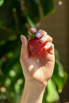 Bella grande fragola rossa in una mano