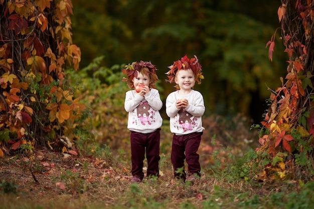 Belle bambine gemelle che tengono le mele nel giardino autunnale bambine che giocano con le mele