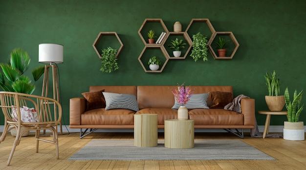 Bellissimo soggiorno con divano in pelle e ripiani esagonali su sfondo verde muro, rendering 3d
