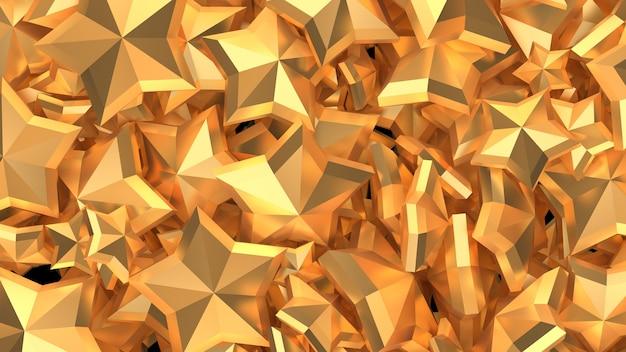 Bellissimo sfondo di lusso dorato di natale con le stelle. illustrazione 3d, rendering 3d.