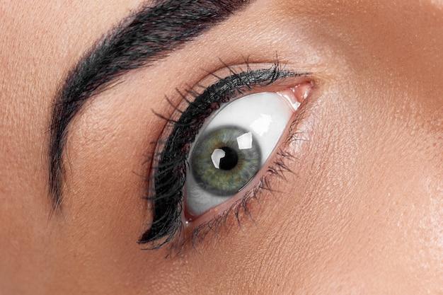 Bello colpo a macroistruzione dell'occhio femminile con ciglia lunghe estreme e trucco della fodera nera. trucco dalla forma perfetta e ciglia lunghe. cosmetici e trucco. colpo a macroistruzione del primo piano del volto di occhi di moda