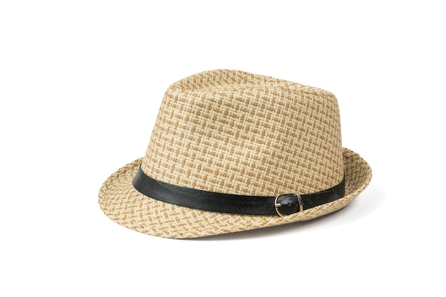 Cappello classico da uomo bello isolato su sfondo bianco.