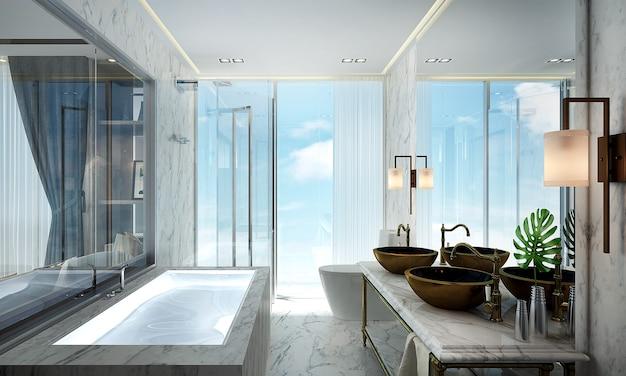 Il bellissimo mock up della casa moderna mock up e il design degli interni del bagno e lo sfondo della parete in marmo e la vista sul mare