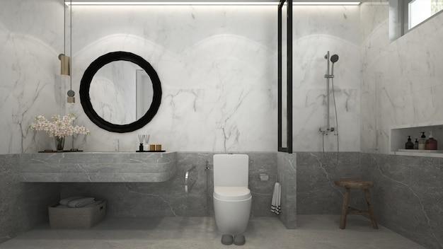 Il bellissimo mock up della casa moderna mock up e il design degli interni del bagno e lo sfondo del muro di marmo