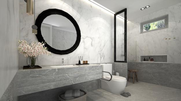La bella casa moderna mock up e il design degli interni del bagno e del muro di marmo sullo sfondo