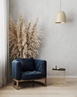 Bella camera moderna con una comoda poltrona
