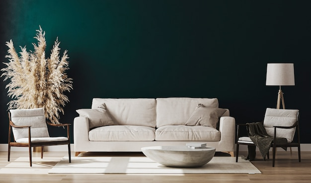 Bella camera moderna con un comodo divano