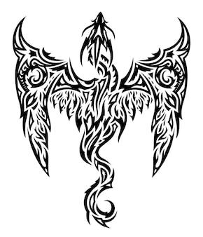 Bella illustrazione monocromatica del tatuaggio tribale con drago nero stilizzato sullo sfondo bianco