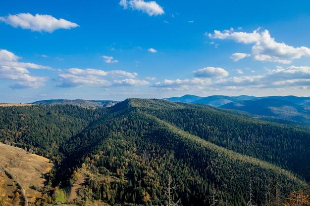 Bellissimo paesaggio di montagna, con cime ricoperte di foreste e un cielo nuvoloso. montagne dell'ucraina, europa.