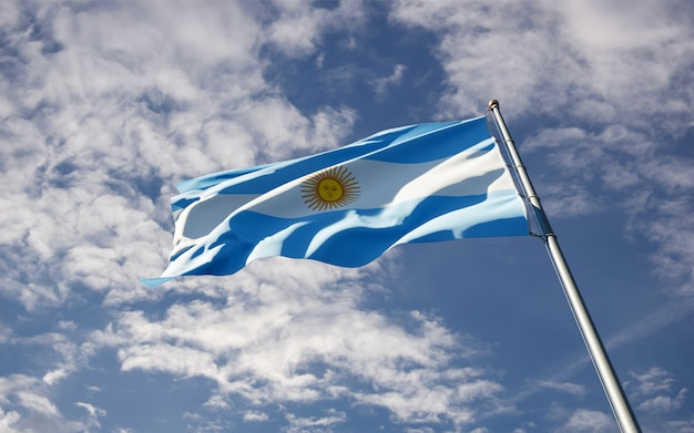 Bella bandiera nazionale dello stato dell'argentina che fluttua al cielo