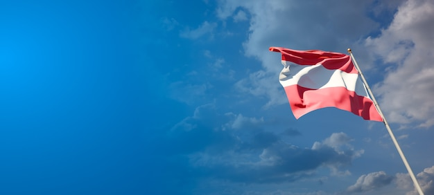 Bella bandiera nazionale dello stato dell'austria con uno spazio vuoto. bandiera austriaca con posto per testo grafica 3d.