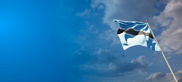 Bella bandiera nazionale dello stato del botswana con uno spazio vuoto.