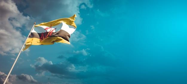 Bella bandiera nazionale dello stato del brunei con uno spazio vuoto.