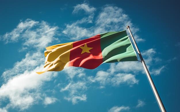 Bella bandiera nazionale dello stato del camerun che fluttua al fondo del cielo.