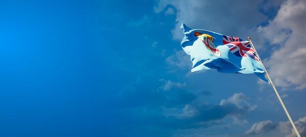 Bella bandiera nazionale dello stato delle figi con uno spazio vuoto bandiera delle figi