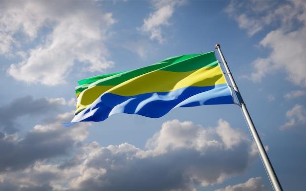 Bella bandiera nazionale dello stato del gabon svolazzanti