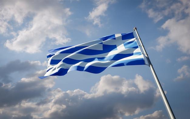 Bella bandiera nazionale dello stato della grecia svolazzante