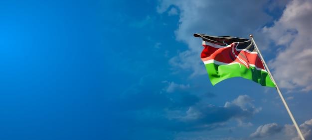 Bella bandiera nazionale dello stato del kenya con uno spazio vuoto su sfondo ampio