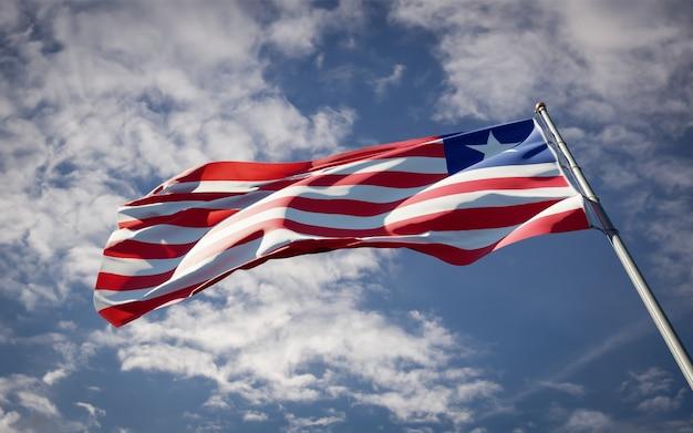 Bella bandiera nazionale dello stato della liberia che fluttua